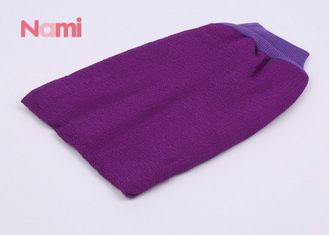Men / Women Exfoliating Bath Gloves Back Scrubber Purple Color For Bathroom
