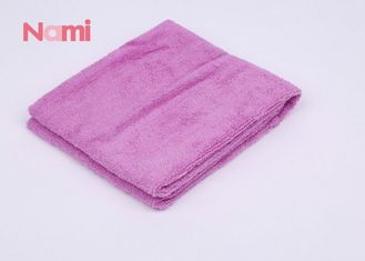 Square Purple Color Wet Hair Towel Wrap Soft Touch With Embroidery Logo