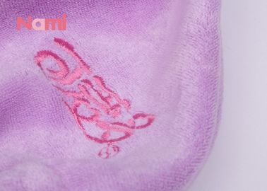Microfiber Hair Drying Towel Cap Quick Drying Purple Color With Custom Logo