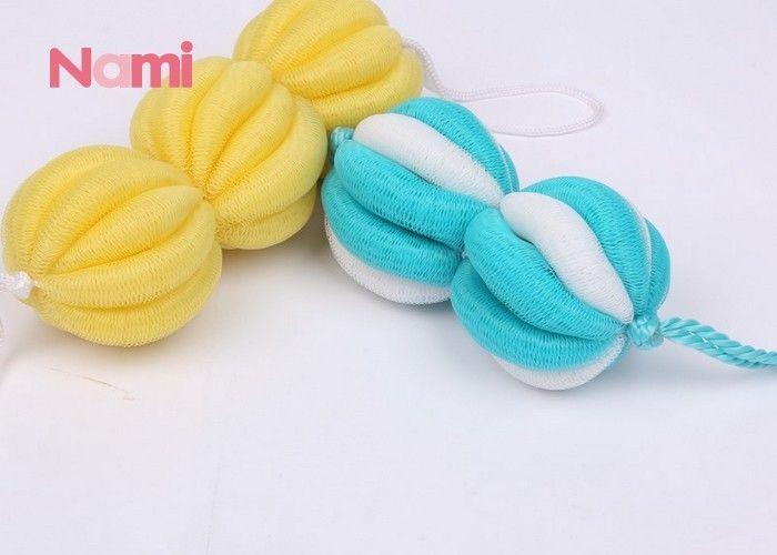 Customized Soft Mesh Bath Pouf Yellow Color Promoting Blood Circulation