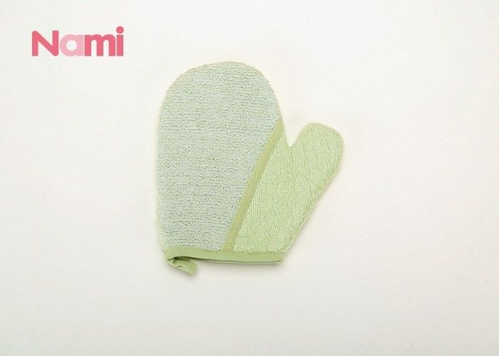 Printed Logo Bathroom Scrub Mitt , Hemp Kids Bath Mitt Fashion Style