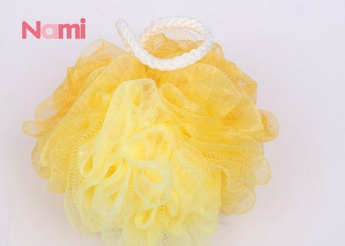 Yellow Loofah Mesh Plastic Bath Sponge Comfortable Round Shape Eco - Friendly