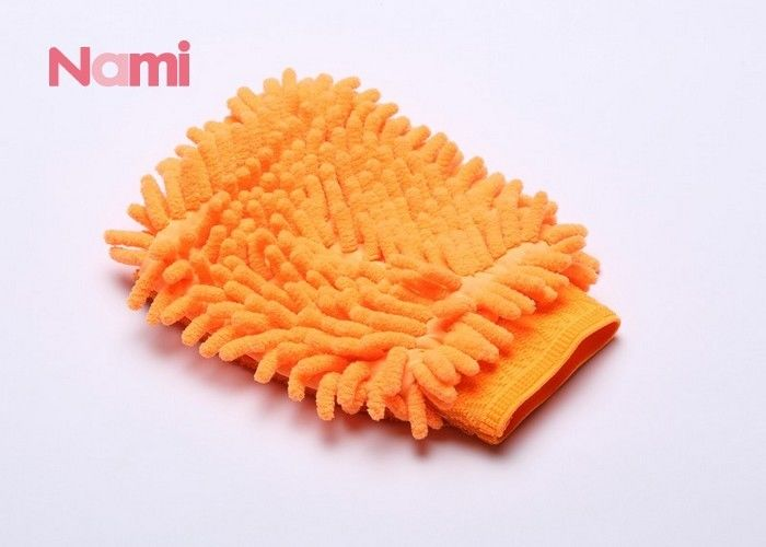 Microfiber Chenille Car Wash Mitt Gloves Shape Single / Double Face 22 * 14CM