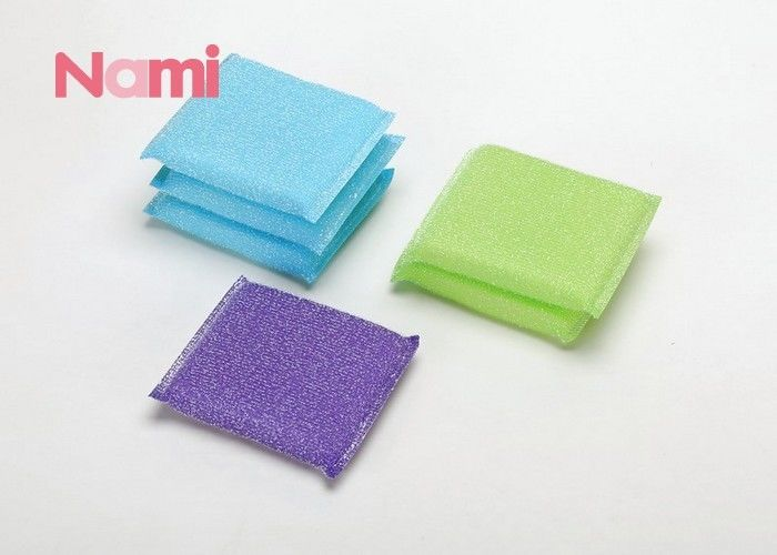 Eco - Friendly Kitchen Scouring Pads Sponge , Heavy Duty Scouring Pads Customized