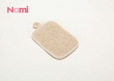 China Exfoliating Natural Hemp Bath Mitt Rectangle Shape For Body Cleaning factory