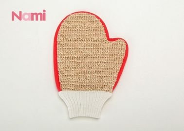 China Non Damage Hemp Bath Mitt Exfoliating Shower Tool For Adult 22 * 14cm factory