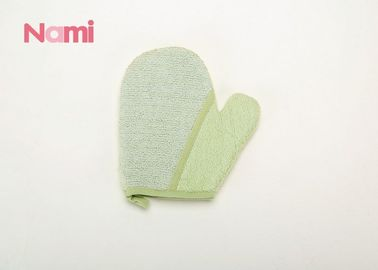 China Printed Logo Bathroom Scrub Mitt , Hemp Kids Bath Mitt Fashion Style factory