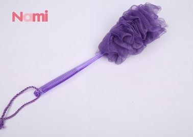 China Soft Exfoliating Loofah Sponge , Purple Mesh Shower Flower Sponge With Handle factory