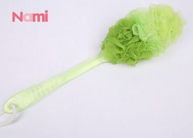 China Ribbon Shower Bath Sponge With Handle Soft Touch Super Absorbent Multi - Color factory